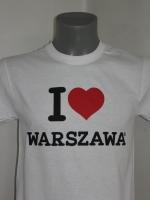 Biała koszulka I love WARSZAWA
