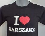 Czarna koszulka I love WARSZAWA