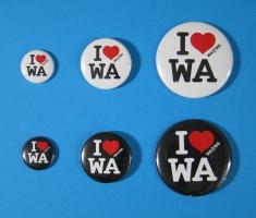 Buttony ze znakiem I love WA